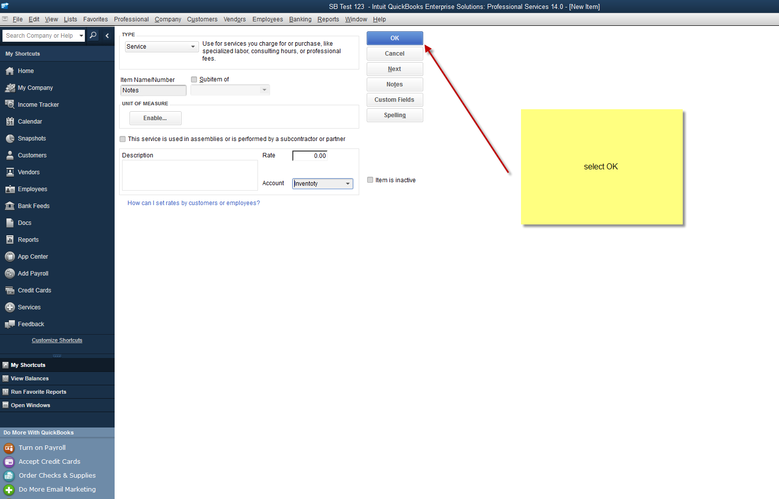 how to set up to create invoice on quickbooks